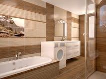 Modern badkamersbinnenland in warme tonen Stock Afbeelding