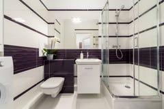 Modern badrum med duschcubiclen royaltyfria bilder