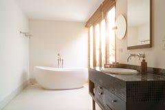 Modern badruminre med det vita ovala badkaret Royaltyfri Fotografi