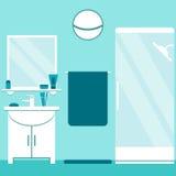 Modern badruminredesign i blått- och vitfärger Plana stilbadrumbeståndsdelar: handfat dusch, spegel Royaltyfri Foto