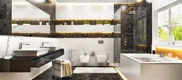 Modern badruminredesign med vit och svart marmor royaltyfri fotografi