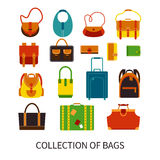 Modern Bags Ftat Colorful Icons Set Royalty Free Stock Photo