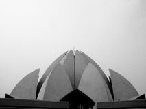 Modern Bahai temple. A black and white view of the futuristic architecture of a large Bahai temple in India Royalty Free Stock Photos