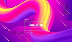 Modern bakgrund 3d Färgrikt vågabstrakt begrepp fluid Shape vektor illustrationer