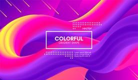 Modern bakgrund 3d Färgrikt vågabstrakt begrepp fluid Shape stock illustrationer