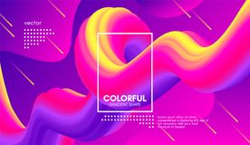 Modern bakgrund 3d Färgrikt vågabstrakt begrepp fluid Shape royaltyfri illustrationer