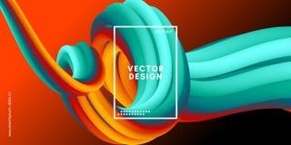 Modern bakgrund 3d Färgrikt vågabstrakt begrepp vätskeShape stock illustrationer