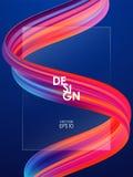 Modern bakgrund för abstrakt begreppmellanrumsaffischen med 3d vred vätskeform för färgrikt flöde Design för akrylmålarfärg stock illustrationer