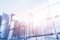 Modern bakgrund för affär med dubbel exponering för cityscape Arkivbild