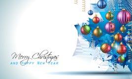 Modern bakgrund för jul med bollar och stjärnaljus royaltyfri illustrationer