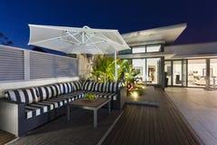 Modern balcony at dusk royalty free stock images