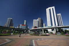 Modern Bangkok. A wide angle view of one of Bangkok's business districts Stock Images