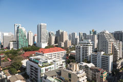 Modern Bangkok. An high density residential area along Sukhumvit road, the heart of modern Bangkok stock photos