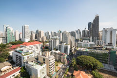 Modern Bangkok. An high density residential area along Sukhumvit road, the heart of modern Bangkok stock photography