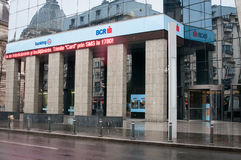 Modern bank branch. Modern bcr bank branch on victoriei street in bucharest romania Royalty Free Stock Image