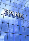 Modern Bank Building with Blue Glass Royalty Free Stock Image