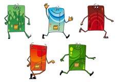 Modern bank credit cards cartoon characters Royalty Free Stock Image