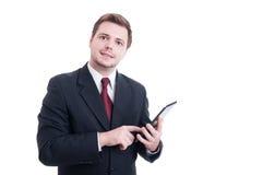 Modern banker or broker using tablet isolated on white Stock Images