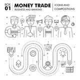 Modern banking business and trade industry. Thin line block flat icons and compositions, development strategy with information and mobile technologies graph and Royalty Free Stock Photography