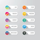 Modern banner button with social icon design options. Vector ill Stock Image