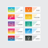 Modern banner button with social icon design options. Vector ill Royalty Free Stock Images