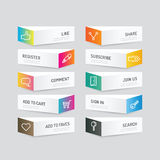 Modern banner button with social icon design options. Vector ill Royalty Free Stock Image