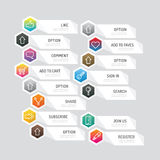 Modern banner button with social icon design options. Vector ill. Ustration. can be used for infographic workflow layout, banner, abstract, colour, graphic or Stock Photography