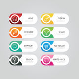 Modern banner button with social icon design options. Vector ill