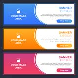 Modern Banner Designs with Different Colors. Blue, Orange and Pink with Image and Text Area stock illustration
