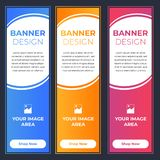 Modern Banner Designs with Different Colors. Blue, Orange and Pink with Image and Text Area royalty free illustration