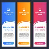 Modern Banner Designs with Different Colors. Blue, Orange and Pink with Image and Text Area vector illustration