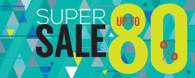 Modern Banner Super Sale Up to 80 Percent. Royalty Free Stock Photos