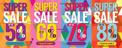 Modern Banner Super Sale Up to 80 Percent. Stock Images