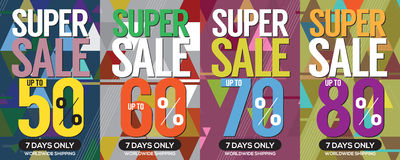 Modern Banner Super Sale Up to 80 Percent. Stock Photo