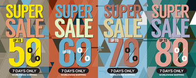 Modern Banner Super Sale Up to 80 Percent. Royalty Free Stock Images