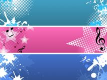 Modern banners. Set of three horizontal abstract banners in grunge style Stock Photos