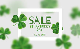 Modern banners for sales on St. Patrick's Day. Design Web banners with 3d effect. Flyer with clover can be used in promotions Royalty Free Stock Image