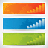 Modern banners with world map and charts royalty free illustration