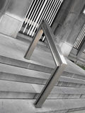Modern bannister. Concrete outdoor stair to the bank,aluminium bannister, urban space royalty free stock photography
