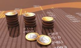 Modern bar chart. Financial bar chart with coins Stock Image