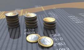 Modern bar chart. Financial bar chart with coins Stock Images
