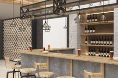 Modern bar with blank billboard. Modern bar or pub interior with blank billboard. Mock up, 3D Rendering Royalty Free Stock Photo