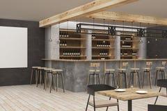 Modern bar with blank poster. Modern bar or pub interior with blank poster. Mock up, 3D Rendering Stock Photography