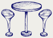 Modern bar table with two chairs Stock Images