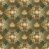 Modern Baroque 3d seamless pattern. Abstract vector dark green b. Ackground with gold radial shapes, damask flowers, scroll leaves, circles, meander, greek key Royalty Free Stock Photo