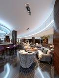 Modern barrestaurant in een luxueuze moderne stijl met elegant meubilair en verlichting vector illustratie