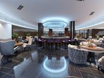 Modern barrestaurant in een luxueuze moderne stijl met elegant meubilair en verlichting royalty-vrije illustratie