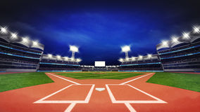 Modern baseball stadium pitch with fans and green grass vector illustration