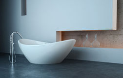 Modern bath tub in front of white wall. A 3d rendering of modern bath tub in front of white wall Royalty Free Stock Photos