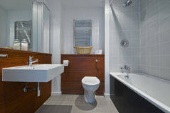 Modern bathroom. With wooden wall cover stock images
